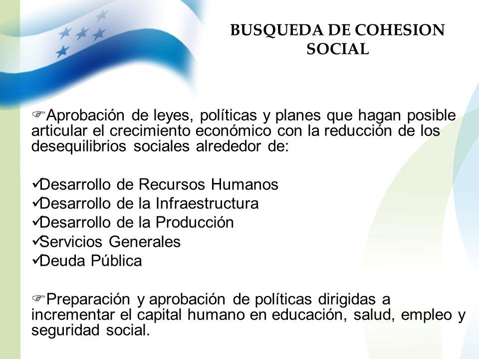 BUSQUEDA DE COHESION SOCIAL Aprobación de leyes, políticas y planes que hagan posible articular el crecimiento económico con la reducción de los deseq