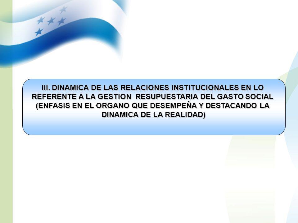 III. DINAMICA DE LAS RELACIONES INSTITUCIONALES EN LO REFERENTE A LA GESTION RESUPUESTARIA DEL GASTO SOCIAL (ENFASIS EN EL ORGANO QUE DESEMPEÑA Y DEST