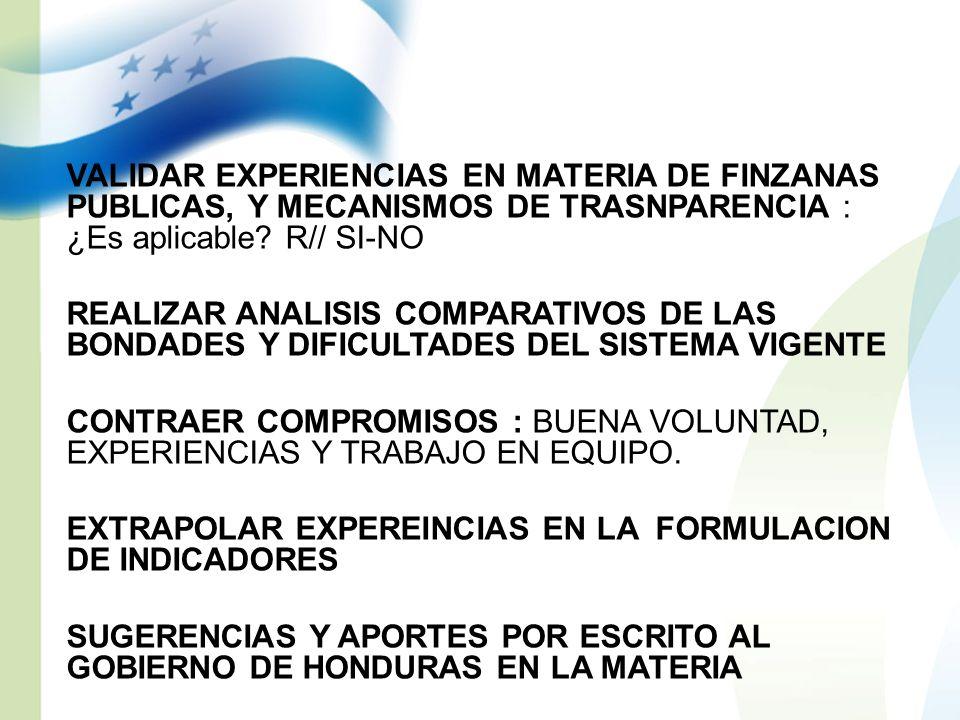 VALIDAR EXPERIENCIAS EN MATERIA DE FINZANAS PUBLICAS, Y MECANISMOS DE TRASNPARENCIA : ¿Es aplicable? R// SI-NO REALIZAR ANALISIS COMPARATIVOS DE LAS B