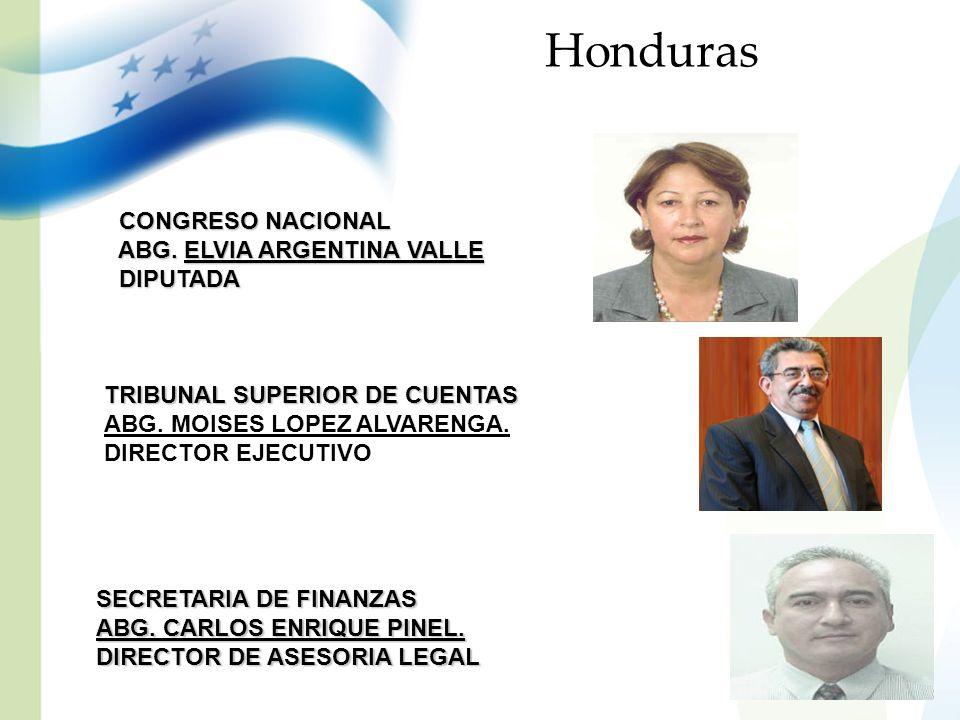 Honduras CONGRESO NACIONAL CONGRESO NACIONAL ABG. ELVIA ARGENTINA VALLE ABG. ELVIA ARGENTINA VALLE DIPUTADA DIPUTADA TRIBUNAL SUPERIOR DE CUENTAS ABG.