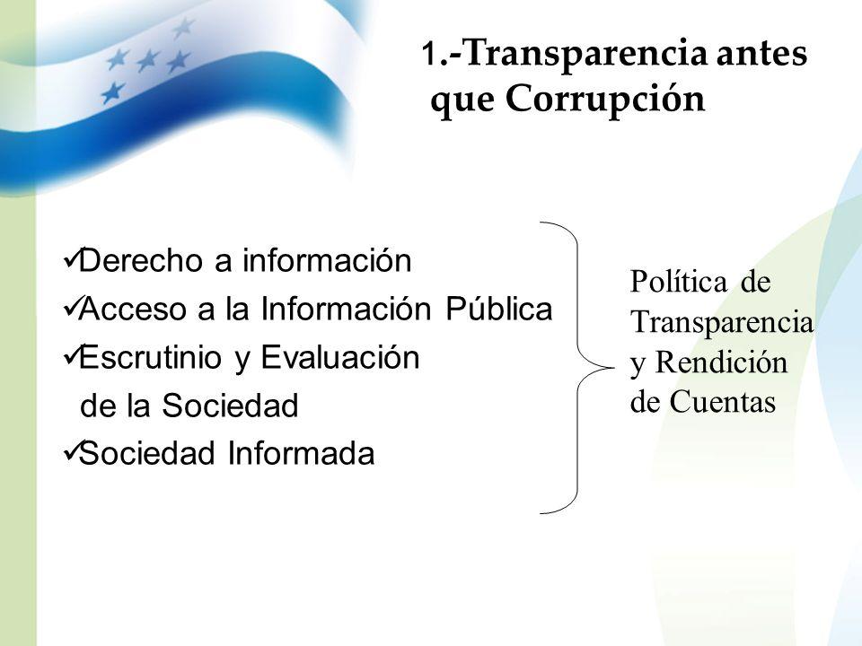 Derecho a información Acceso a la Información Pública Escrutinio y Evaluación de la Sociedad Sociedad Informada Política de Transparencia y Rendición
