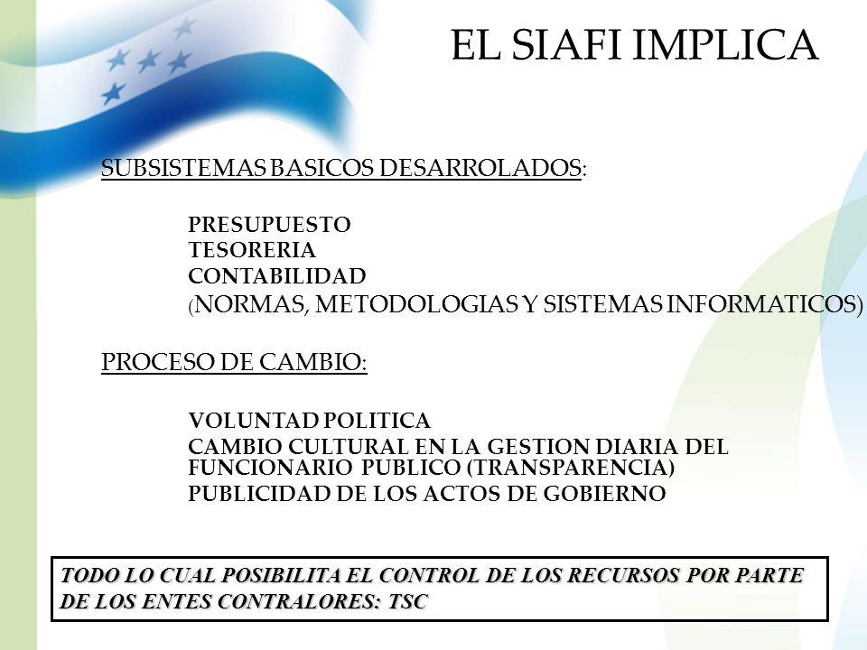 EL SIAFI IMPLICA SUBSISTEMAS BASICOS DESARROLADOS: PRESUPUESTO TESORERIA CONTABILIDAD ( NORMAS, METODOLOGIAS Y SISTEMAS INFORMATICOS) PROCESO DE CAMBI