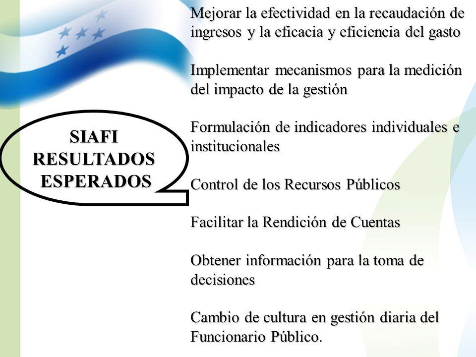SIAFIRESULTADOS ESPERADOS ESPERADOS Mejorar la efectividad en la recaudación de ingresos y la eficacia y eficiencia del gasto Implementar mecanismos p