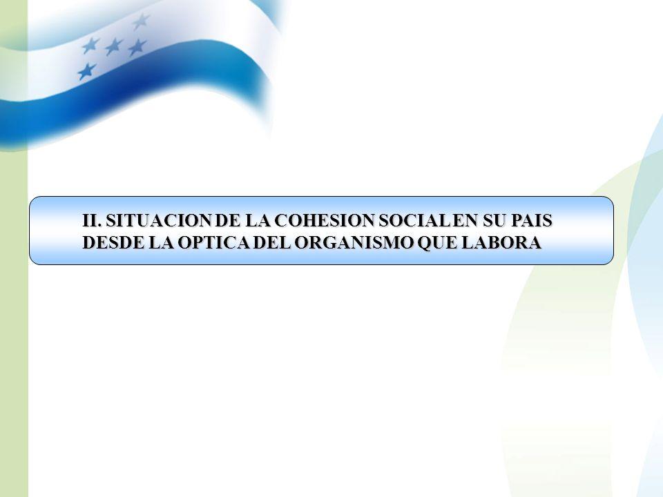 II. SITUACION DE LA COHESION SOCIAL EN SU PAIS DESDE LA OPTICA DEL ORGANISMO QUE LABORA