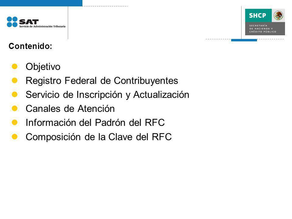 Contenido: Objetivo Registro Federal de Contribuyentes Servicio de Inscripción y Actualización Canales de Atención Información del Padrón del RFC Comp