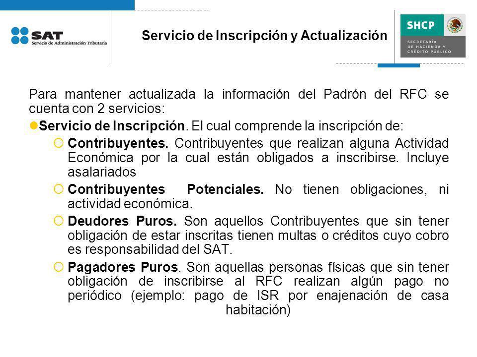 Para mantener actualizada la información del Padrón del RFC se cuenta con 2 servicios: Servicio de Inscripción. El cual comprende la inscripción de: C