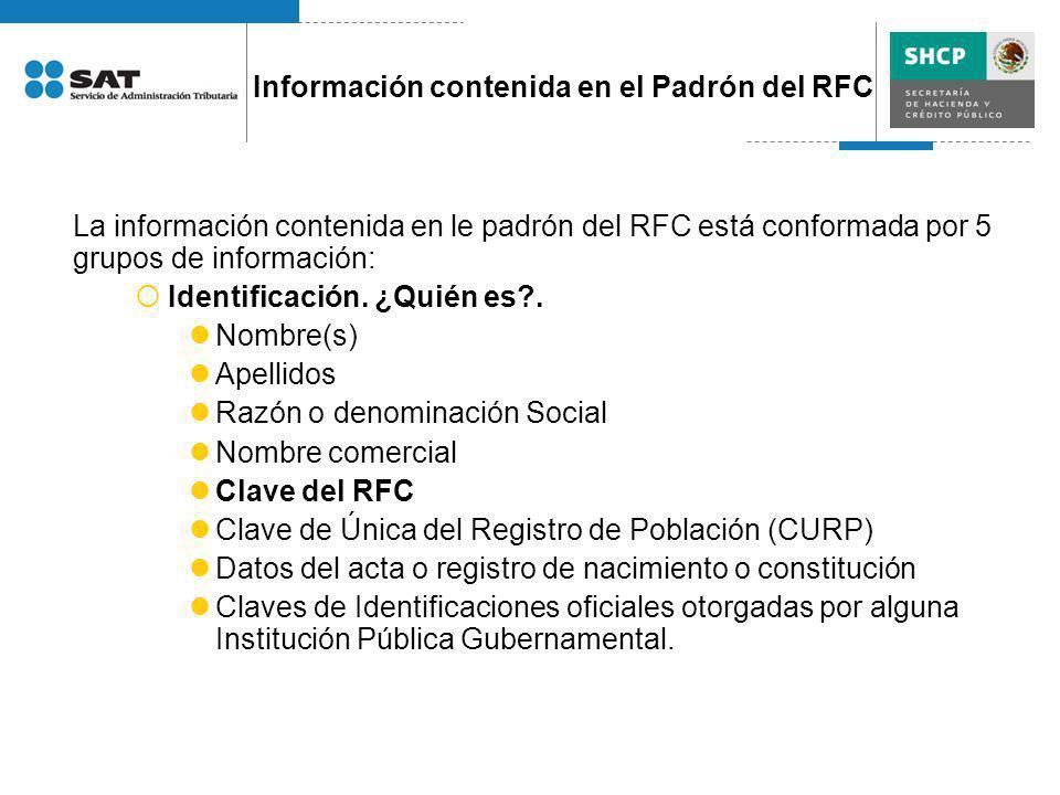 La información contenida en le padrón del RFC está conformada por 5 grupos de información: Identificación. ¿Quién es?. Nombre(s) Apellidos Razón o den