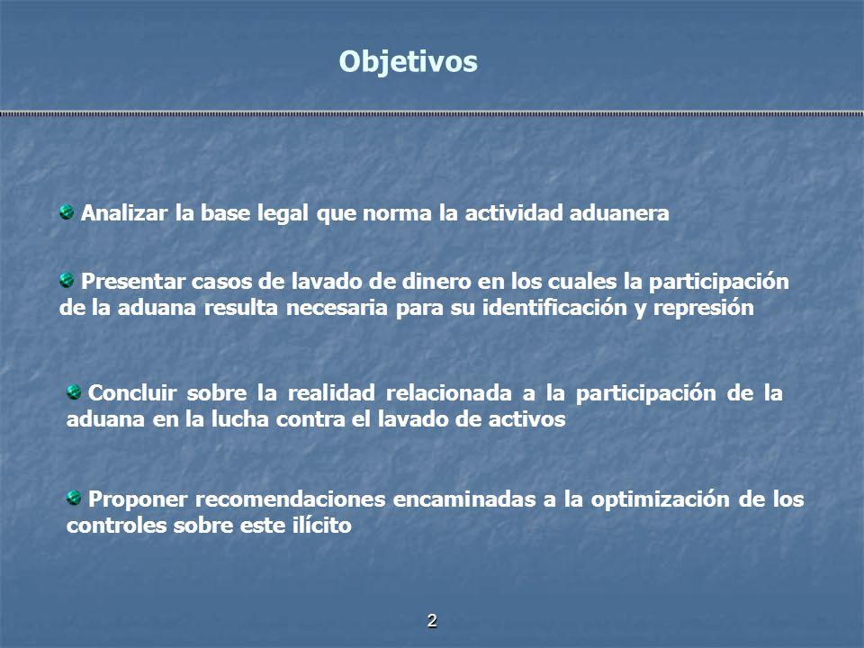 2 Analizar la base legal que norma la actividad aduanera Objetivos Presentar casos de lavado de dinero en los cuales la participación de la aduana res