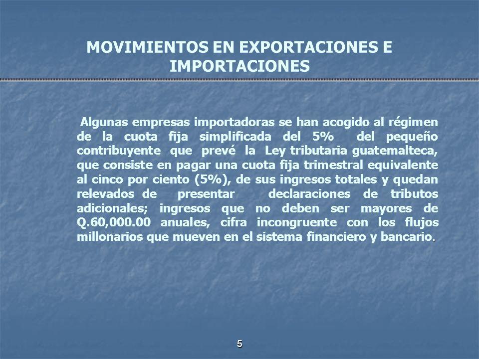 5 MOVIMIENTOS EN EXPORTACIONES E IMPORTACIONES. Algunas empresas importadoras se han acogido al régimen de la cuota fija simplificada del 5% del peque