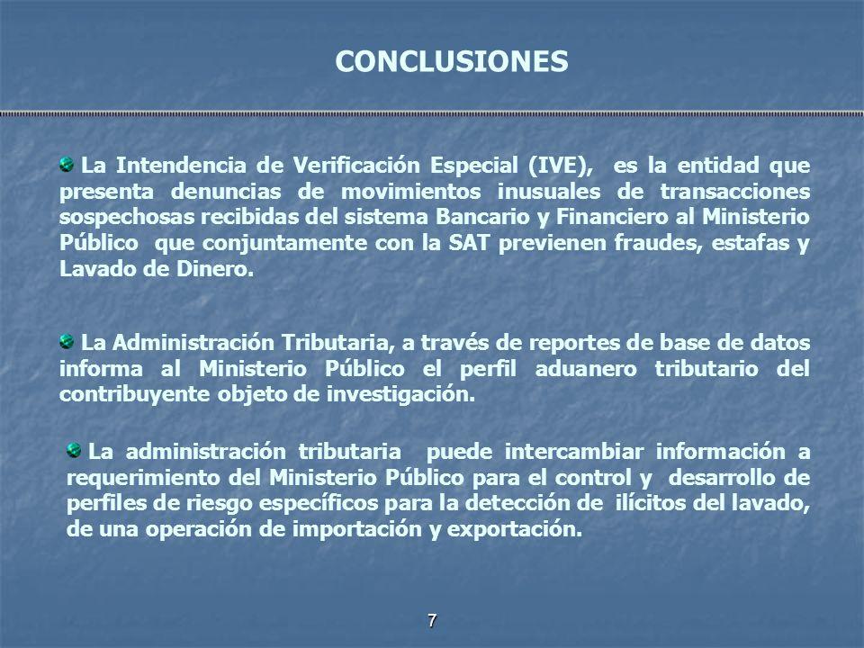 7 La Intendencia de Verificación Especial (IVE), es la entidad que presenta denuncias de movimientos inusuales de transacciones sospechosas recibidas