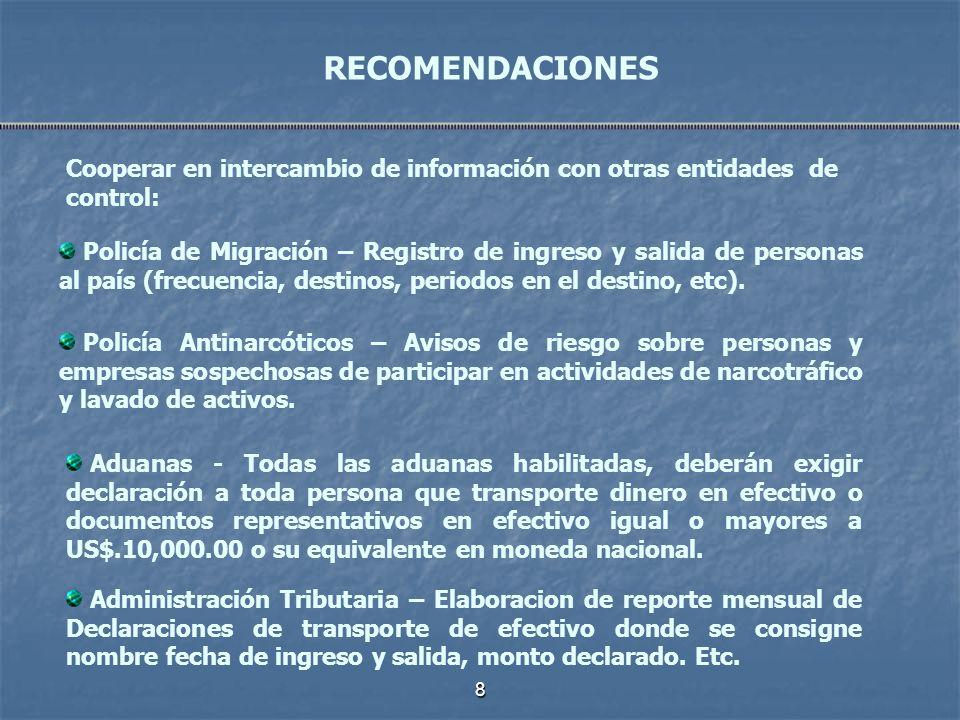 8 Cooperar en intercambio de información con otras entidades de control: RECOMENDACIONES Policía de Migración – Registro de ingreso y salida de person