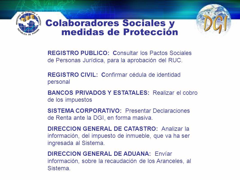 Colaboradores Sociales y medidas de Protección REGISTRO PUBLICO: Consultar los Pactos Sociales de Personas Jurídica, para la aprobación del RUC. REGIS