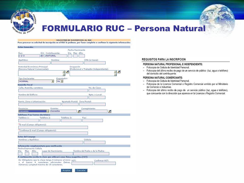 FORMULARIO RUC – Persona Natural