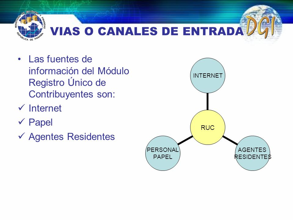 VIAS O CANALES DE ENTRADA Las fuentes de información del Módulo Registro Único de Contribuyentes son: Internet Papel Agentes Residentes RUC INTERNET A