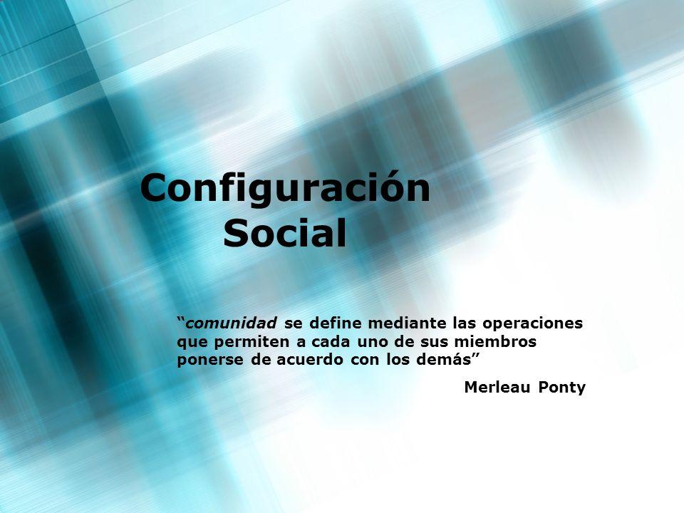 Configuración Social comunidad se define mediante las operaciones que permiten a cada uno de sus miembros ponerse de acuerdo con los demás Merleau Pon