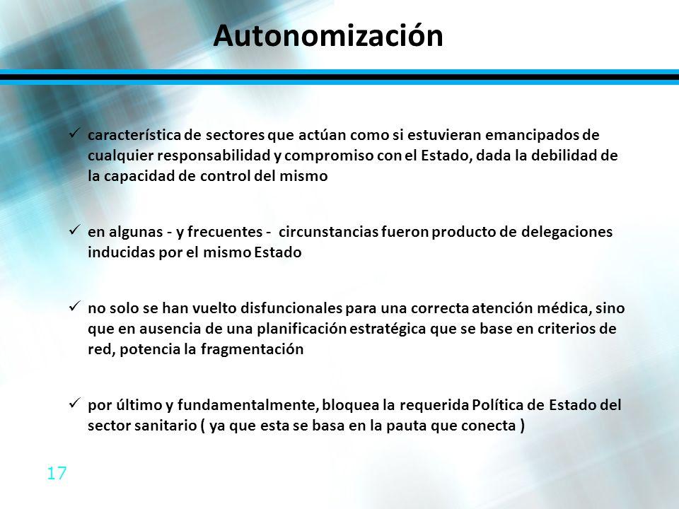 17 Autonomización característica de sectores que actúan como si estuvieran emancipados de cualquier responsabilidad y compromiso con el Estado, dada l