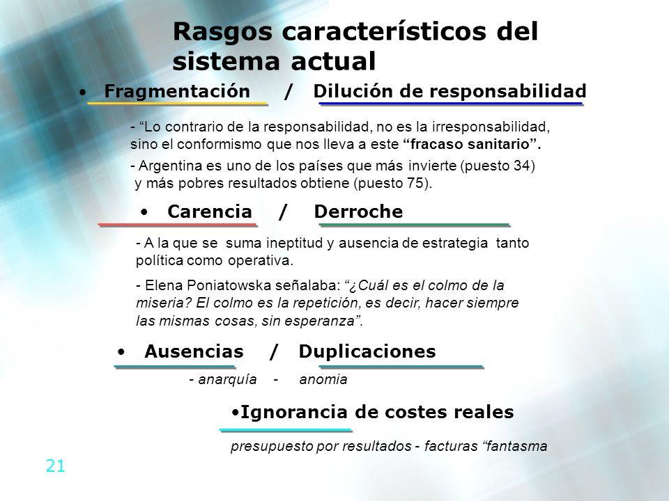 21 Rasgos característicos del sistema actual Fragmentación / Dilución de responsabilidad - Lo contrario de la responsabilidad, no es la irresponsabili