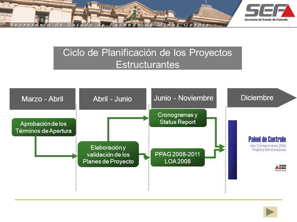 Aprobación de los Términos de Apertura Elaboración y validación de los Planes de Proyecto Abril - Junio Cronogramas y Status Report PPAG 2008-2011 LOA
