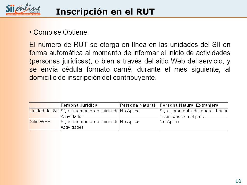 10 Inscripción en el RUT Como se Obtiene El número de RUT se otorga en línea en las unidades del SII en forma automática al momento de informar el ini