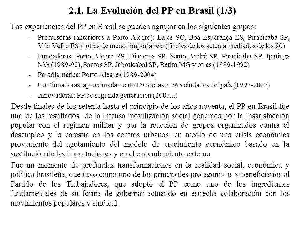 2.1. La Evolución del PP en Brasil (1/3) Las experiencias del PP en Brasil se pueden agrupar en los siguientes grupos: -Precursoras (anteriores a Port