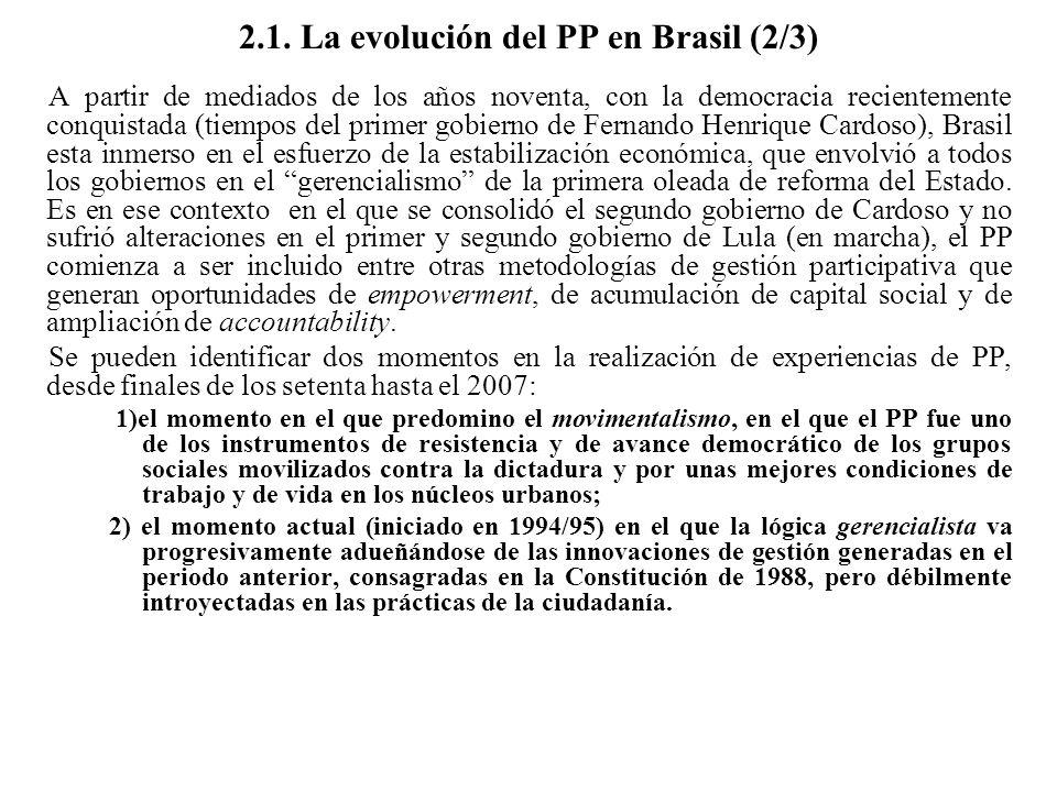 2.1. La evolución del PP en Brasil (2/3) A partir de mediados de los años noventa, con la democracia recientemente conquistada (tiempos del primer gob