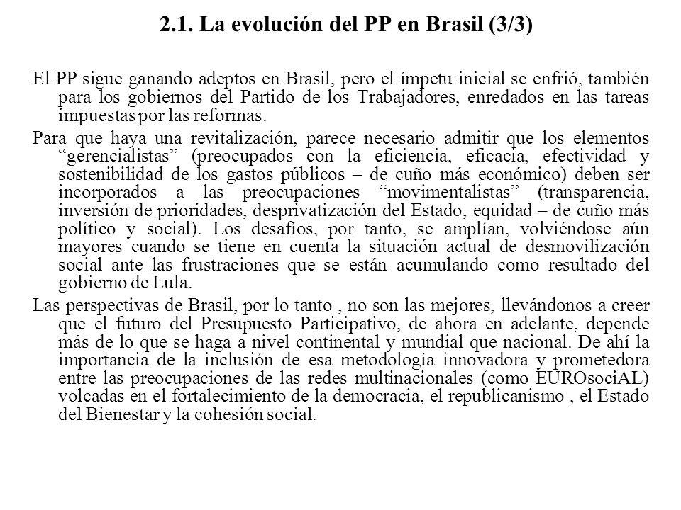 2.1. La evolución del PP en Brasil (3/3) El PP sigue ganando adeptos en Brasil, pero el ímpetu inicial se enfrió, también para los gobiernos del Parti