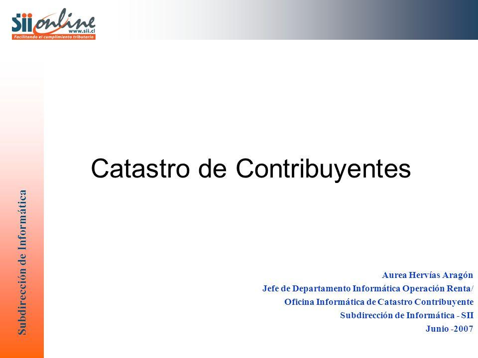 Subdirección de Informática Catastro de Contribuyentes Aurea Hervías Aragón Jefe de Departamento Informática Operación Renta/ Oficina Informática de Catastro Contribuyente Subdirección de Informática - SII Junio -2007
