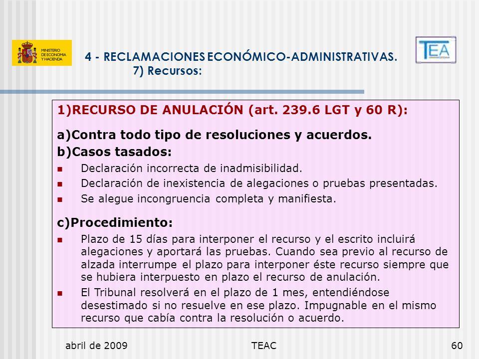 abril de 2009TEAC60 4 - RECLAMACIONES ECONÓMICO-ADMINISTRATIVAS. 7) Recursos: 1)RECURSO DE ANULACIÓN (art. 239.6 LGT y 60 R): a)Contra todo tipo de re