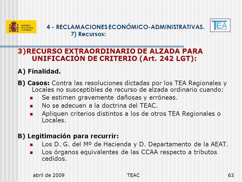 abril de 2009TEAC63 4 - RECLAMACIONES ECONÓMICO-ADMINISTRATIVAS. 7) Recursos: 3)RECURSO EXTRAORDINARIO DE ALZADA PARA UNIFICACIÓN DE CRITERIO (Art. 24