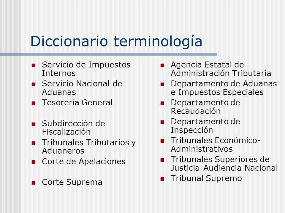 Diccionario terminología Servicio de Impuestos Internos Servicio Nacional de Aduanas Tesorería General Subdirección de Fiscalización Tribunales Tribut