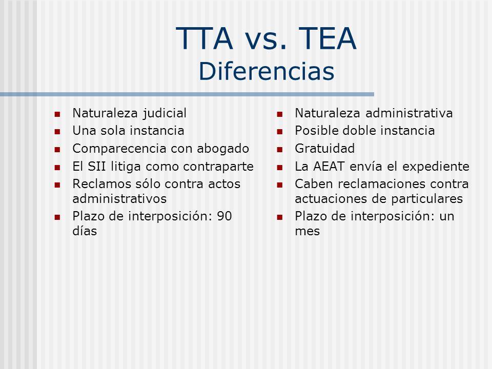 TTA vs. TEA Diferencias Naturaleza judicial Una sola instancia Comparecencia con abogado El SII litiga como contraparte Reclamos sólo contra actos adm