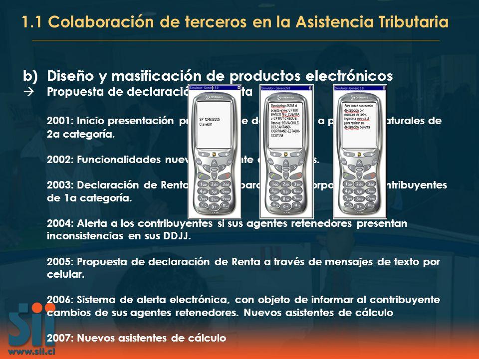 b)Diseño y masificación de productos electrónicos Propuesta de declaración de Renta 2001: Inicio presentación propuesta de declaración a personas natu