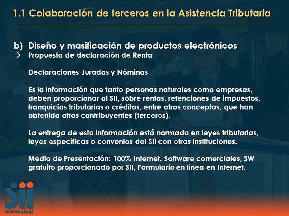b)Diseño y masificación de productos electrónicos Propuesta de declaración de Renta Declaraciones Juradas y Nóminas Es la información que tanto person