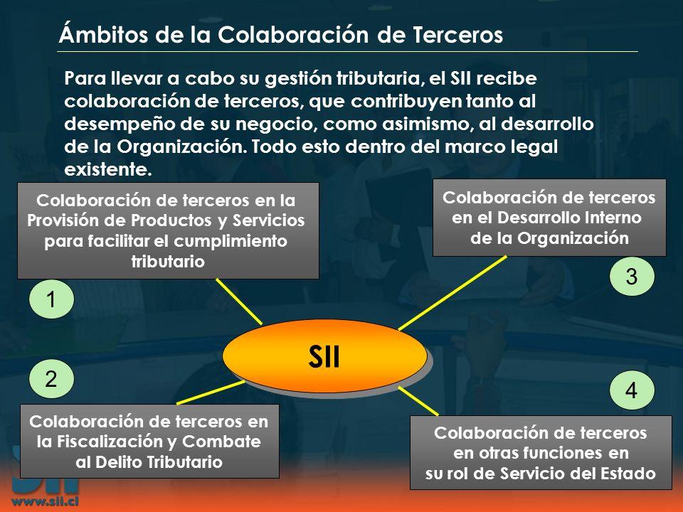 Ámbitos de la Colaboración de Terceros Para llevar a cabo su gestión tributaria, el SII recibe colaboración de terceros, que contribuyen tanto al dese