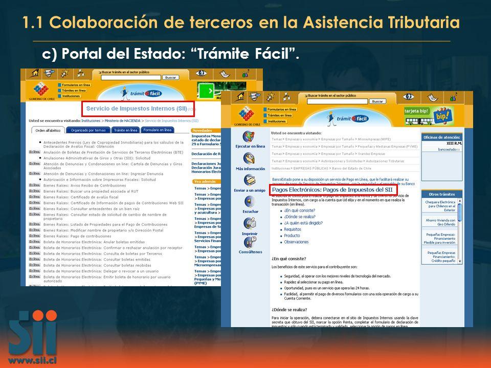 c) Portal del Estado: Trámite Fácil. 1.1 Colaboración de terceros en la Asistencia Tributaria