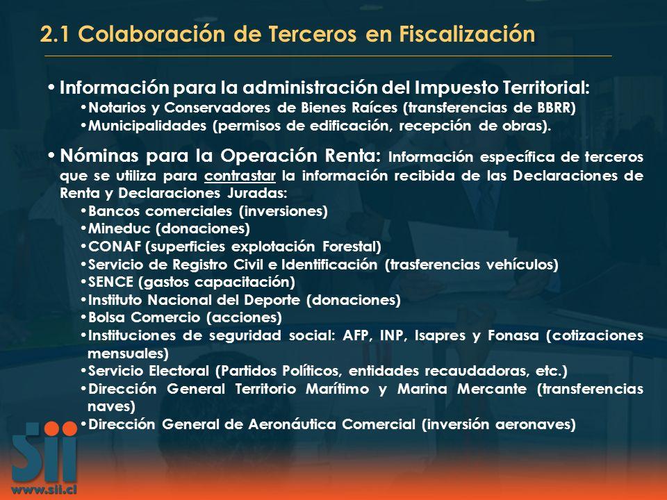 Información para la administración del Impuesto Territorial: Notarios y Conservadores de Bienes Raíces (transferencias de BBRR) Municipalidades (permi