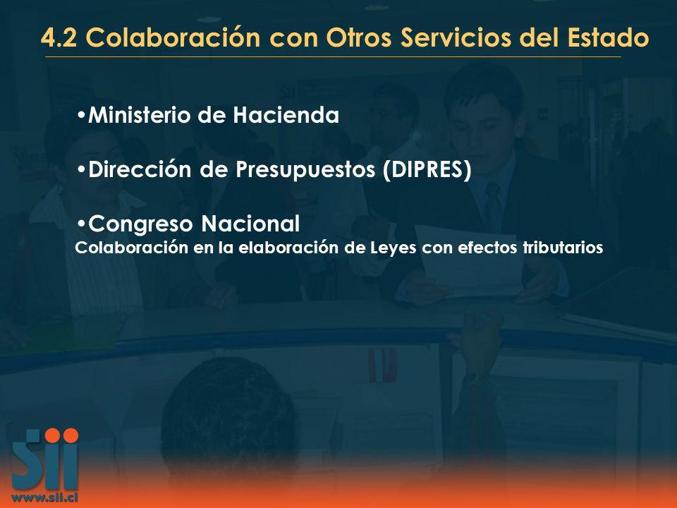 4.2 Colaboración con Otros Servicios del Estado Ministerio de Hacienda Dirección de Presupuestos (DIPRES) Congreso Nacional Colaboración en la elabora