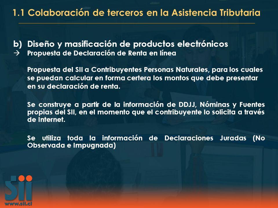 b)Diseño y masificación de productos electrónicos Propuesta de Declaración de Renta en línea Propuesta del SII a Contribuyentes Personas Naturales, pa