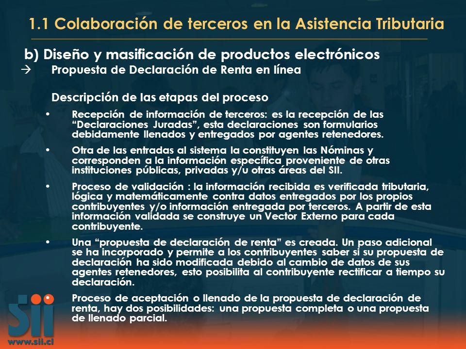 b)Diseño y masificación de productos electrónicos Propuesta de declaración de Renta 2001: Inicio presentación propuesta de declaración a personas naturales de 2a categoría.
