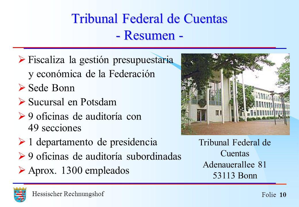 Hessischer Rechnungshof Folie 10 Tribunal Federal de Cuentas - Resumen - Fiscaliza la gestión presupuestaria y económica de la Federación Sede Bonn Su