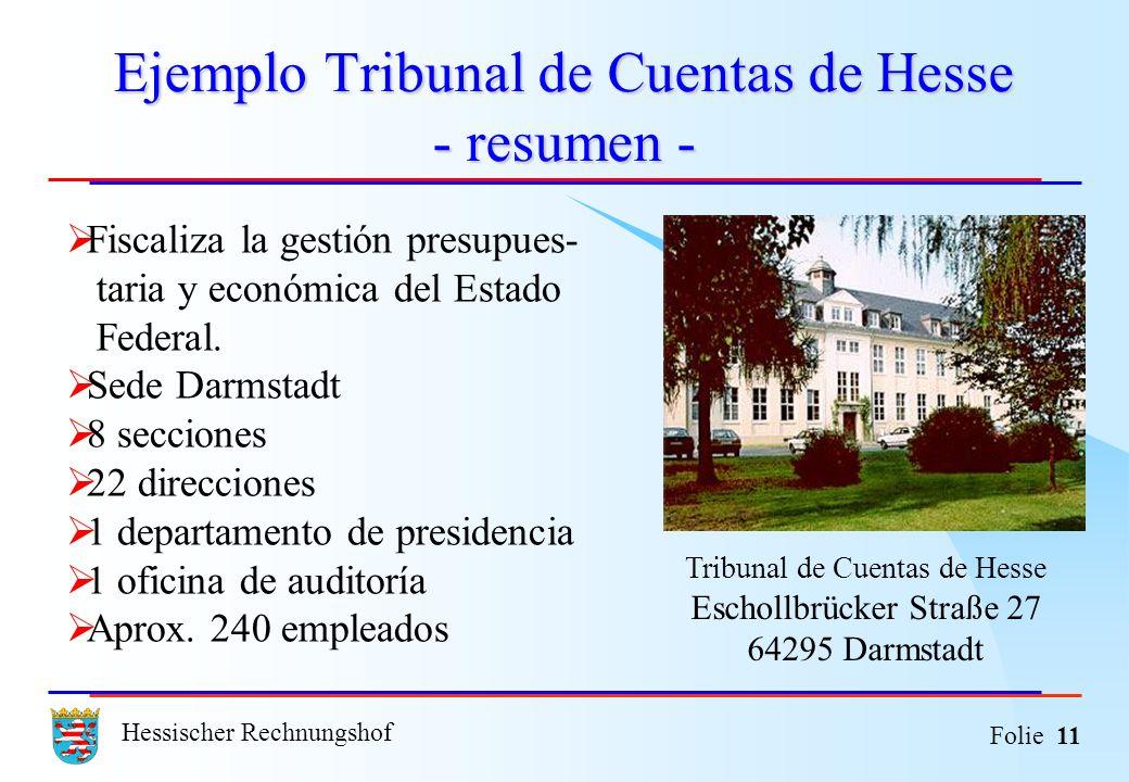 Hessischer Rechnungshof Folie 11 Ejemplo Tribunal de Cuentas de Hesse - resumen - Fiscaliza la gestión presupues- taria y económica del Estado Federal