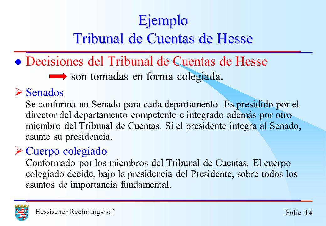 Hessischer Rechnungshof Folie 14 Ejemplo Tribunal de Cuentas de Hesse Decisiones del Tribunal de Cuentas de Hesse son tomadas en forma colegiada. Sena