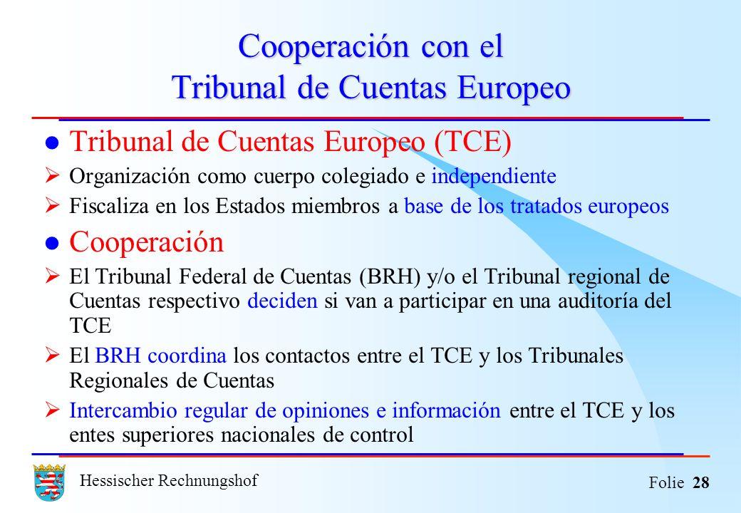 Hessischer Rechnungshof Folie 28 Cooperación con el Tribunal de Cuentas Europeo Tribunal de Cuentas Europeo (TCE) Organización como cuerpo colegiado e