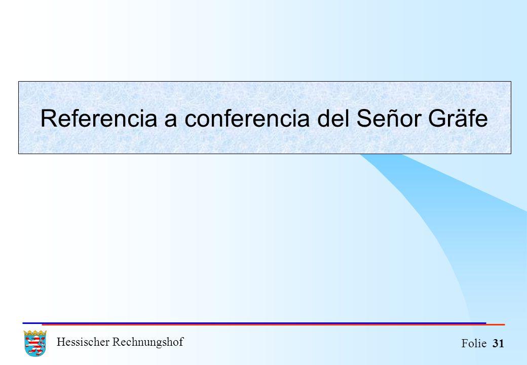 Hessischer Rechnungshof Folie 31 Referencia a conferencia del Señor Gräfe