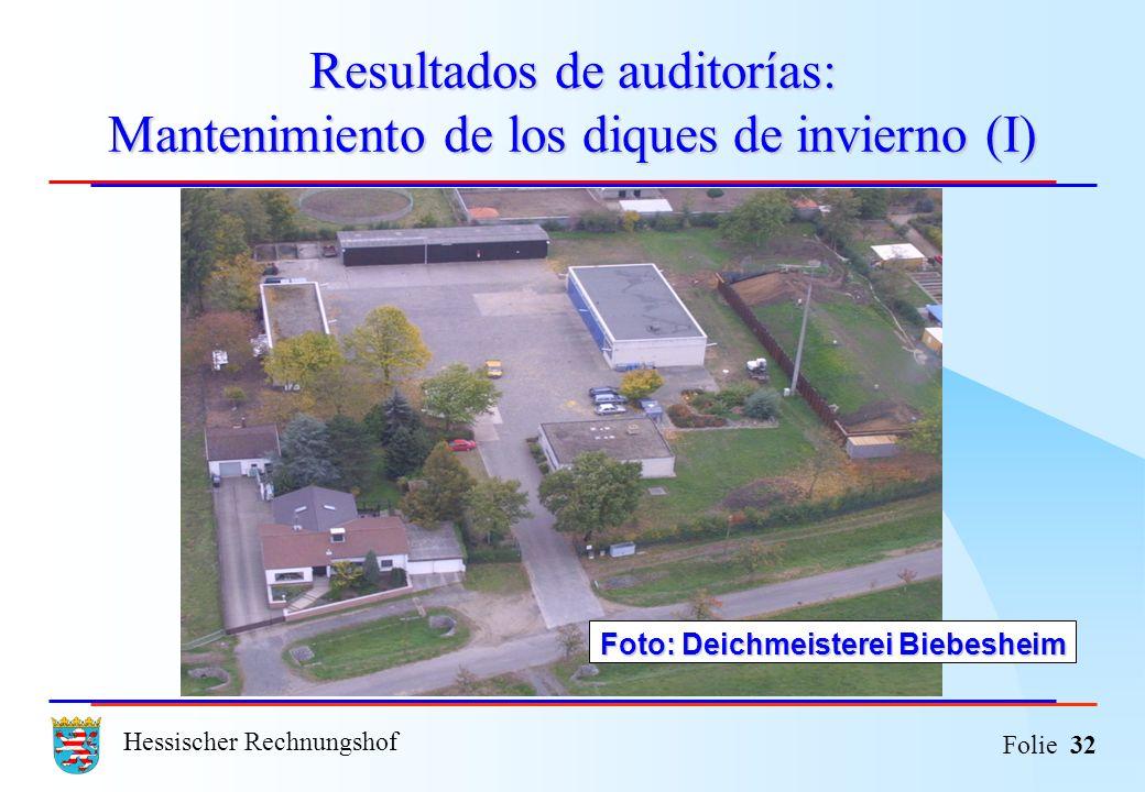 Hessischer Rechnungshof Folie 32 Resultados de auditorías: Mantenimiento de los diques de invierno (I) Foto: Deichmeisterei Biebesheim