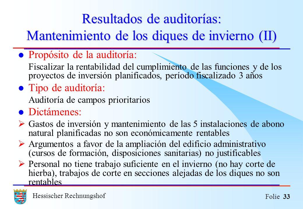 Hessischer Rechnungshof Folie 33 Resultados de auditorías: Mantenimiento de los diques de invierno (II) Propósito de la auditoría: Fiscalizar la renta