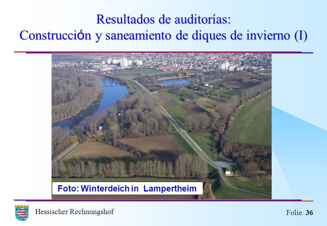 Hessischer Rechnungshof Folie 36 Resultados de auditorías: Construcci ó n y saneamiento de diques de invierno (I) Foto: Winterdeich in Lampertheim