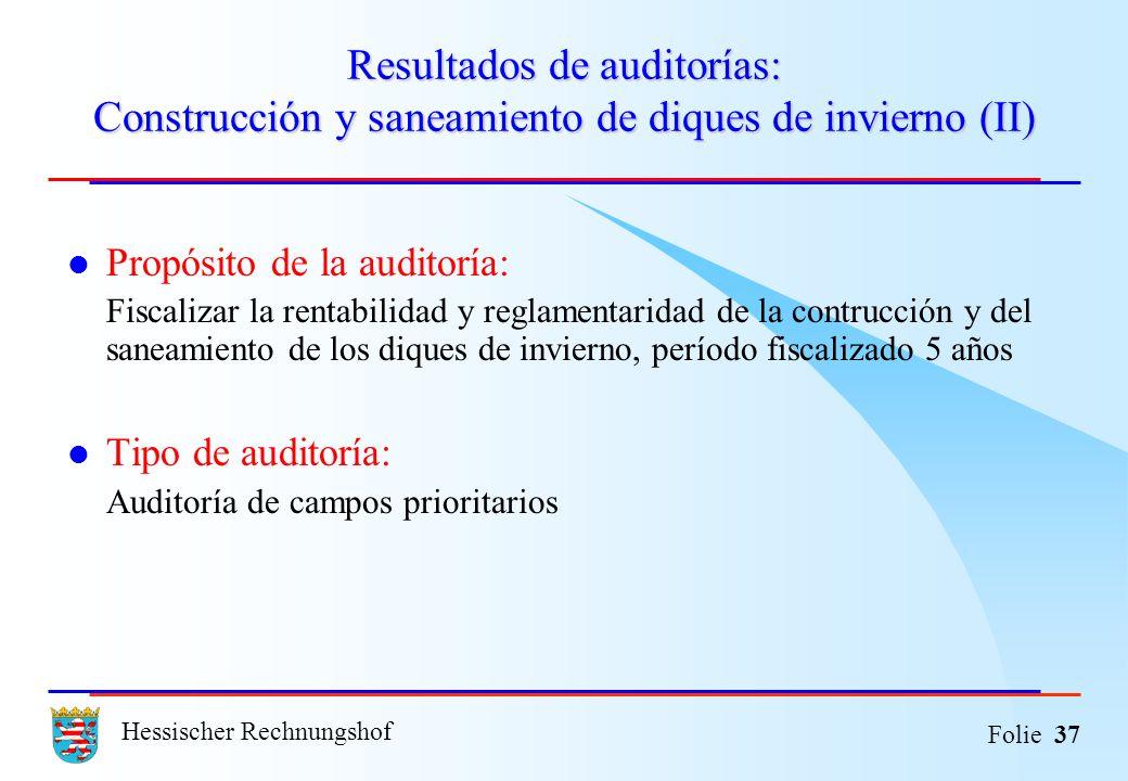 Hessischer Rechnungshof Folie 37 Resultados de auditorías: Construcción y saneamiento de diques de invierno (II) Propósito de la auditoría: Fiscalizar