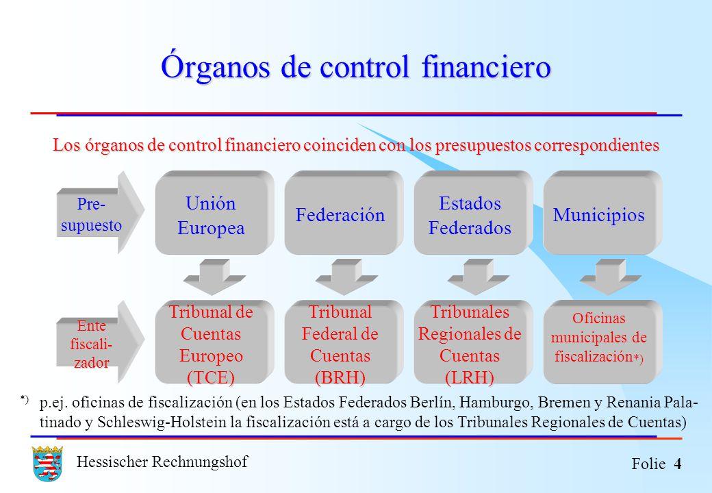 Hessischer Rechnungshof Folie 4 Órganos de control financiero Los órganos de control financiero coinciden con los presupuestos correspondientes *) p.e