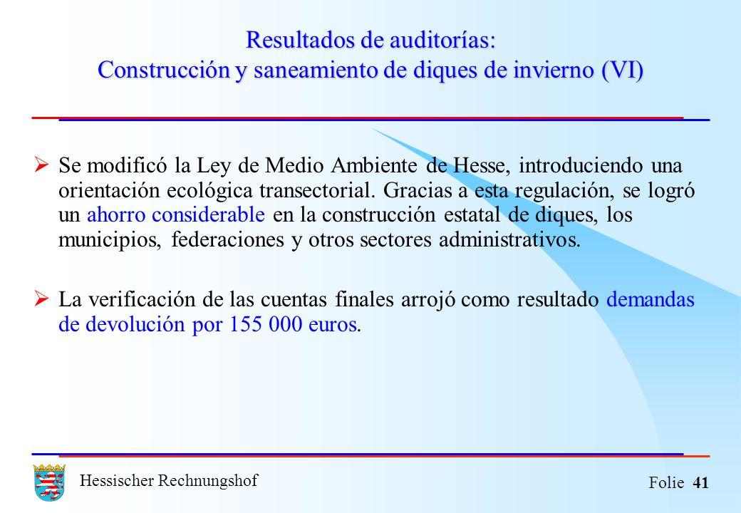Hessischer Rechnungshof Folie 41 Resultados de auditorías: Construcción y saneamiento de diques de invierno (VI) Se modificó la Ley de Medio Ambiente